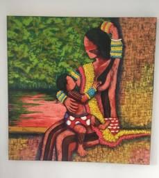 Pintura Canvas a oleo, temática indígena 1,20x1,20