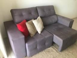 Sofá 3 lugares com chaise cinza (7 meses de uso)