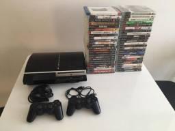 PlayStation 3 80GB + 2 controles + 49 jogos (tudo original)