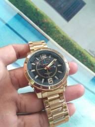 Exclusivo relógio dourado masculino novo zerado