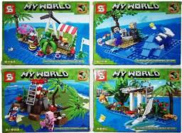 Bloco de montar Minecraft 621 peças Kit 4 Modelos Ilhas Oceano Férias