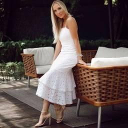 Vestido Midi Branco Noiva no Civil ou Réveillon