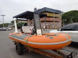 Bote  inflável s 2008 com boias 2018 fundo  fibra comando e cabos elétrica