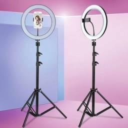 Iluminador LED Circular Ring Light RGB com Controle e Tripé de 1.80