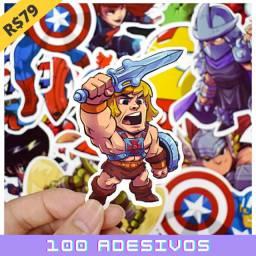 100 Adesivos Decorativos - Super Heróis Variados