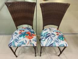 Título do anúncio: Cadeiras de junco estofadas