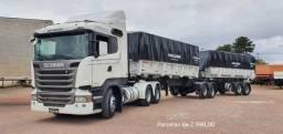 Scania R440 6x4 2018 com Carreta Bi-Caçamba Facchini e Contrato de Serviço.