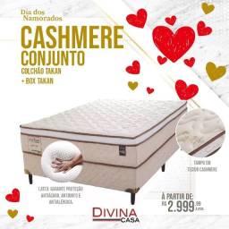 Conjunto Cashmere Antiácaro antimofo Colchão e Box casal apenas 2999,99