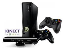 Xbox 360 Slim + Hd 320gb + Kinect + 2 Controles + 10 A 15 Jogos
