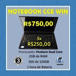 Título do anúncio: Notebook CCE Win Dual Core + 2GB Ram + 120GB de SSD com garantia e em 3 X no cartão!!