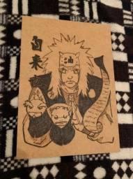Quadro Pirografado Jiraya (Naruto)