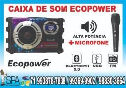 Caixa De Som Ecopower Karaokê Bluetooth e 165,00 a vista