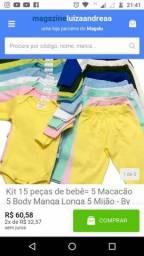 Título do anúncio: Kit 15 peças de bebê= 5 Macacão 5 Body Manga Longa 5 Mijão - By LeleKes