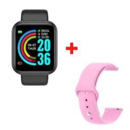 Relógio Smartwatch D20 + Pulseira Rosa