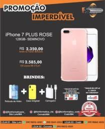 """""""Phone 7 plus 128gb rose semi novo"""""""