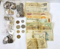 Título do anúncio: Lote de moedas e notas antigas