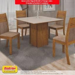Título do anúncio: Conj.Mesa de Jantar Leifer 4 cadeiras Napoli 90x90 c/Tampo vidro (Canela/offwhite)