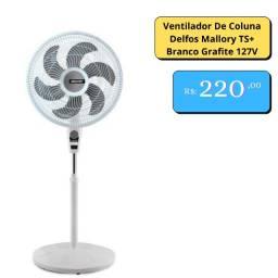 Ventilador De Coluna Delfos Mallory TS+ Branco Grafite 127V