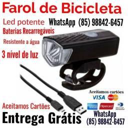 Título do anúncio: Farol de led bicicleta bateria recarregável entrega Grátis