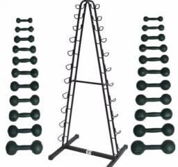 Kit halteres pintados 0,5kg à 10kg Pares de pesos para academia treino fitness residencial comprar usado  São Paulo