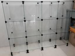 Balcão expositor de vidro
