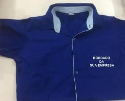 Camisa social manga curta personalizada bordado no bolso promoçao farda uniforme