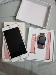 IPhone 7 Plus 128 GB Relógio smartwach iwo 8 rose
