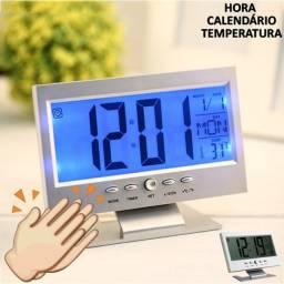 Relógio De Mesa Digital Led Azul Ref - Ds-8082