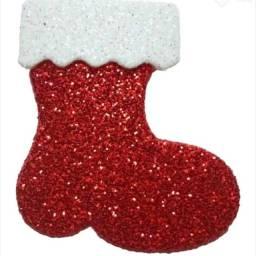 Pack com 10!! Botinha de Papai Noel Pet EVA com ?glitter?
