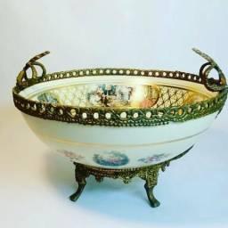 Centro de mesa/fruteira porcelana e metal