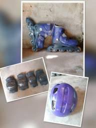 Vende-se patins inline ajustáveis azul em pefeito estado