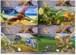 Bloco De Montar Dinossauros World 138 Peças Kit 4x Modelos Diferentes