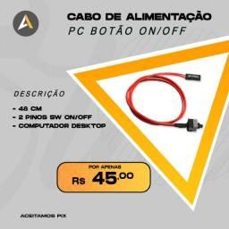 Cabo Alimentação PC Botão ON/OFF