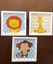 Kit infantil com 3 quadros para a decoração do quarto do bebê. 25x25