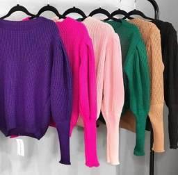 blusa manga longa moda tricô