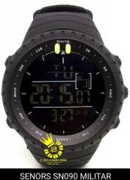 Relógio Militar SENORS SN090 Civil led Full Black A Prova D'água ENTREGA GRÁTIS*