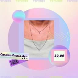 Título do anúncio: Cordão Choker Colar Duplo Pingente - Prata