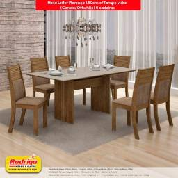 Título do anúncio: Conj.Mesa de Jantar Leifer 6 cadeiras Florença 1.60cm c/Tampo vidro (Canela/Offwhite)