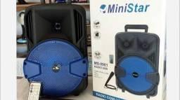 Caixa de som MiniStar original com controle e microfone 300whats