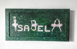 Quadro decorativo criança Menina Isabela côr verde e rosa