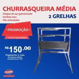Título do anúncio: Churrasqueira Média de Aço Galvanizado com 2 Grelhas