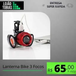 Título do anúncio: Farol Lanterna Bike 3 Focos Led Com Zoom Recarregável T6 720