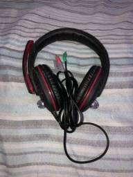 Headset Goldentec GT Gamer Preto com Vermelho