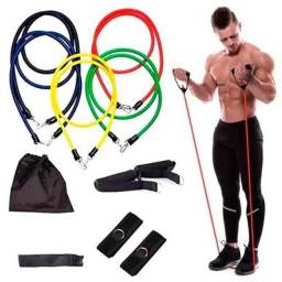 Título do anúncio: Kit Elástico Extensor 11 Itens Musculação Funcional Em Casa