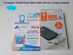 Promo Carregador Portátil Power Bank 5.000 mAh até 2 Cargas Completas ( Entrega Gratis)