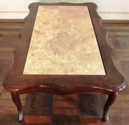 Mesa de centro madeira maciça com mármore