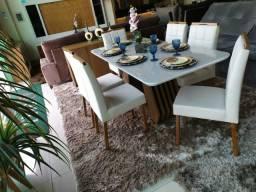 Mesa retangular Agatha 1.90X0,90 mts+seis cadeiras