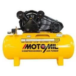 Compressor 20 pés 140psi 200 litros 5hp - motomil cmv-20pl