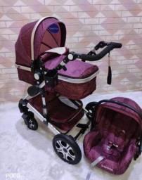 Carrinho de bebê Super Luxo 3 em 1 Europeu em 12x sem juros