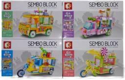 Bloco De Montar Shoppings Carros Movel 542 Peças Kit 4 Modelos